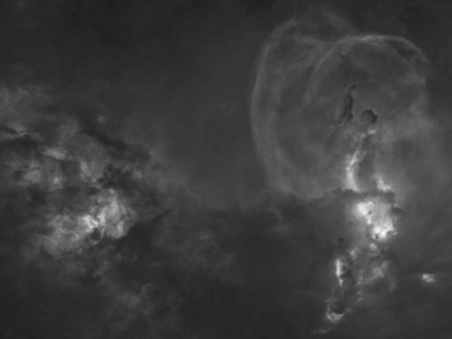 NGC 3603 and 3581 in Black and White